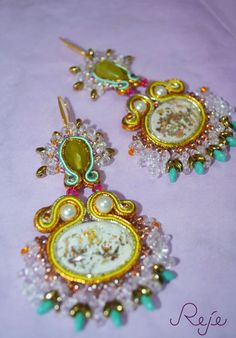 """Soutache earrings """"Sicily"""" -Reje- OOAK earrings https://www.etsy.com/shop/Rejesoutache?ref=hdr_shop_menu"""