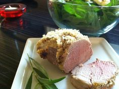DJ Dave Diner 7/28 Horseradish Crusted Pork Tenderloin - Tonight I did s slow-roasted, panko-crusted pork tenderloin, with horseradish, Dijon. champagne vinegar, thyme and tarragon. Looking for a juicy pink in the middle (I hate overbooked pork!), and very happy with the way this came out! Sidekicked with a spinach salad w/goat cheese, basil-infused EVOO, slivered almonds, and a touch of honey.