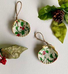 Beach ornaments scallop shell ornaments-pick your pattern seashell ornaments beach cottage beach farmhouse Christmas Christmas gift