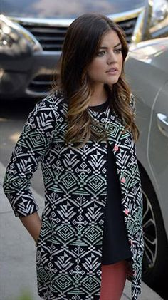 Aria's geometric print coat with coral buttons on Pretty Little Liars.  Outfit Details: http://wornontv.net/46277/ #PLL