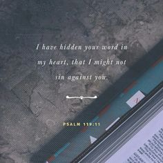I have hidden your word in my heart that I might not sin against you. Psalm 119:11 NIV http://bible.com/111/psa.119.11.NIV