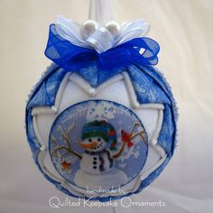 Quilted Christmas Ornament  Snowman by QuiltedKpskOrnaments, $25.00