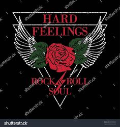 Hard Feelings Rock And Roll Slogan Fashion patch, badge Girl Gang Rose with Leaves wings Punk girl gang, T-shirt apparels print tee graphic design. Vector stickers, pins, patches vintage rock style.