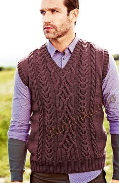 Безрукавка с «косами» (м) 08*177 Bergere de France №4747 Aran Knitting Patterns, Knit Vest Pattern, Knitting Designs, Gents Sweater, Cable Sweater, Cable Knit, Sweater Design, Pulls, Knitwear