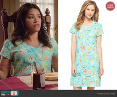 Jane's sea creatures printed nightgown on Jane the Virgin.  Outfit Details: http://wornontv.net/48174/ #JanetheVirgin