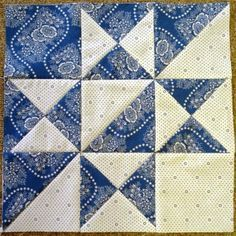 Little Quilts 2nd Sat. April 2014 Alternate Block - Blue & White