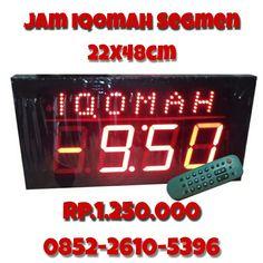 jam digital iqomah segmen untuk mengatur jeda adzan dan iqomah.  untuk pemesanan silahkan hubungi kontak kami kak, wa : 0852-2610-5696 bbm: D3055605