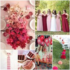 Dusty Pink and Deep Red - 12 Perfect Combinations for Color Schemes for Fall Weddings - EverAfterGuide