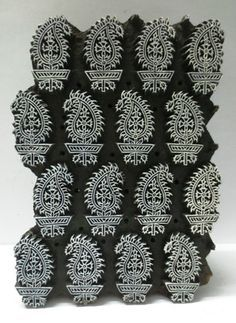 INDIAN WOODEN HAND CARVED TEXTILE PRINTING ON FABRIC BLOCK / STAMP ...