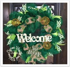 Instock $74.99  Welcome St. Patrick's Day Green Wreath