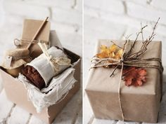 Quick and easy hostess gift... homemade potpourri or jam, wrapped in craft paper with twine, leaves and twigs.
