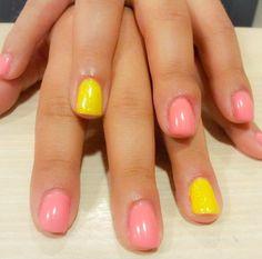 nails, short nails, pink, yellow