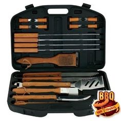 BBQ Grill Tools Set 18 Piece Stainless Steel Outdoor Cooking Tool Case #BarbecueSet18Piece
