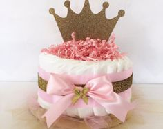 Pink & Gold Princess MINI Diaper Cake / Baby Shower Centerpieces decorations / Girls Room Nursery Decor / New mom unique gifts / Tiara Crown Baby Shower Cakes, Fiesta Baby Shower, Baby Shower Diapers, Baby Shower Parties, Baby Shower Themes, Baby Shower Gifts, Shower Ideas, Shower Tips, Shower Party