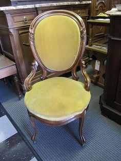 Victorian Antique Walnut Parlor Chair Antique Furniture.  Love this, reminds me of the ones MD has... would change the material but it's beautiful!