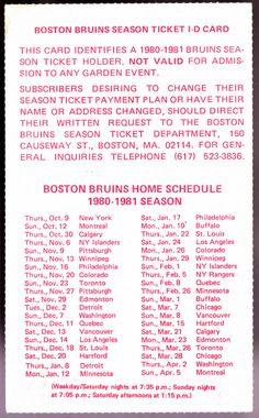 1980-81 BOSTON BRUINS SEASON TICKET ID CARD SCHEDULE EXEX+ CONDITION FREE SHIP #Pocket #SCHEDULE