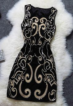 Noble Vintage Sequin Floral Embroidered Sleeveless Party Dress