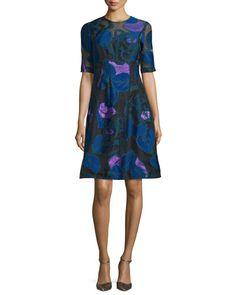 LELA ROSE HOLLY LEAF HALF-SLEEVE DRESS, LAPIS/MULTI. #lelarose #cloth #