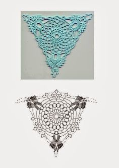 Crochet Triangle Motif and Scheme - Hakeln Crochet Diy, Mode Crochet, Crochet Doily Patterns, Crochet Diagram, Crochet Chart, Thread Crochet, Irish Crochet, Crochet Doilies, Crochet Flowers
