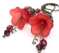 Red lucite flower earrings by WickedRuby