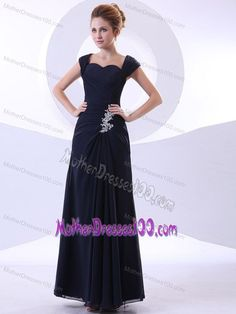 Ankle-length Navy Blue Mother of the Groom Dresses with Straps and Appliques