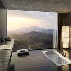Perfect #bathroom with a perfect view by Valkyrie Studio #design #designer #instadesign #beautiful #home #homedesign #art #architecture #interiordesign #exterior #interior #luxury #lighting #decoration #decor #follow #view #bath #nature