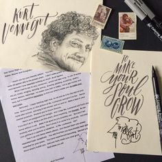 """It's Liz of @tuccicursive guest posting: April is #NationalLetterWritingMonth, to inspire you to write a letter this month, I am featuring some of my lettering and envelope art.  In 2006, Author Kurt Vonnegut was solicited to visit a school by a group of students at Xavier High School. While he did not go to the school, his letter did. It is a profound letter on the necessary art of practice. He tells the students, """"Practice any art, music, singing, dancing, acting, drawing, painting…"""