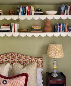 "Louise Roe Home on Instagram: ""What a lovely, relatively easy (?) idea- add scalloping to your bedroom shelf. Design @elizabethhaydesign headboard fabric…"""