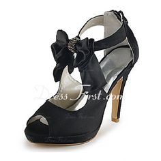Satin Stiletto Heel Peep Toe Sandals Wedding Shoes With Bowknot Rhinestone (047020113) - DressFirst en