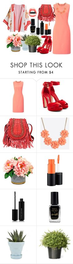 """""""floral kimono"""" by nadialestari99 ❤ liked on Polyvore featuring Finesse, Alexander McQueen, J.Crew, MAC Cosmetics, Marc Jacobs, Barry M and Chive"""