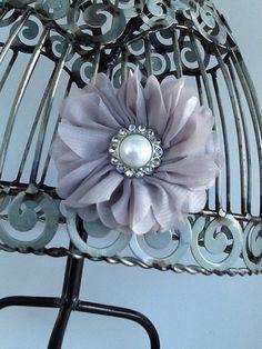 Gray flower hair clip girls flower hair clip by VittysPretties, $5.75