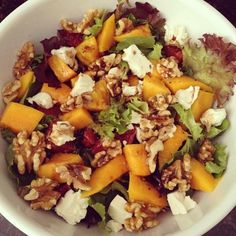 Another creative salad = lettuce + mango + blood orange + feta cheese + walnuts + vinaigrette (Taken with instagram)