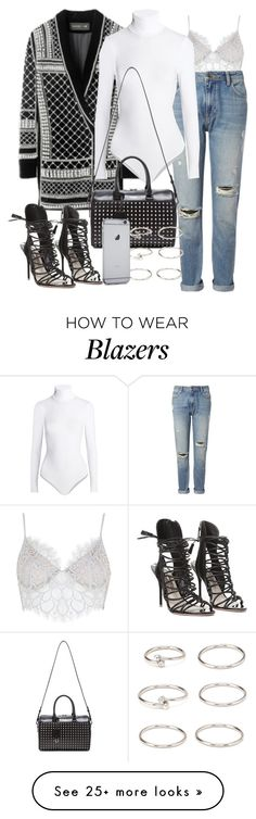"""Untitled #1776"" by eleanorwearsthat on Polyvore featuring For Love & Lemons, Whistles, Wolford, Sophia Webster, Yves Saint Laurent and Forever 21"
