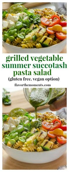 Grilled Vegetable Su Grilled Vegetable Summer Succotash Pasta Salad is packed with grilled and fresh summer produce, fresh mozzarella pearls, and Chickapea gluten free pasta. https://www.pinterest.com/pin/74872412538906734/