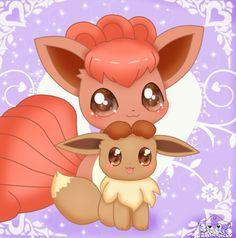 Cute Vulpix And Eevee by jirachicute28