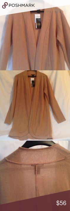 Cashmere Cardigan Long Cashmere Cardigan Sweater. Camel color 'Cashew Heather'. Tagged as an XL, but it fits me as slightly oversized and I'm a small! Probably be perfect for a Medium/Large. Very soft, 2 ply cashmere, slightly sheer. Sandra Cashmere Sweaters Cardigans