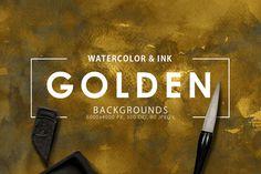 Golden Watercolor & Ink Backgrounds  @creativework247