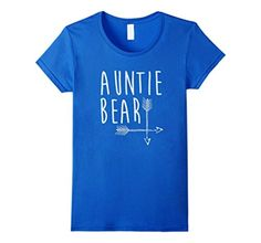 Women's Auntie Bear T-Shirt Family Portrait With Mama and Papa Bear Small Royal Blue - Brought to you by Avarsha.com
