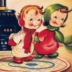 Vintage Christmas Card Cute Kids Pot Belly Stove