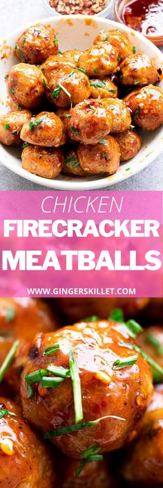 Spicy Chicken Meatballs aka Firecracker meatballs recipe with step-by-step instructions. These spicy and sweet twice-baked chicken meatballs are super easy to make and tastes delicious as an appetizer or in a meal! Baked Chicken Meatballs, Chicken Meatball Recipes, Firecracker Meatballs, Firecracker Chicken, Lunch Recipes, Appetizer Recipes, Dinner Recipes, Appetizers, High Protein Recipes