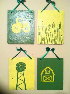 John Deere Nursery Decor, Nursery Wall Art, Painted Sign, Nursery Art, John Deere Nursery Set on Etsy, $50.00