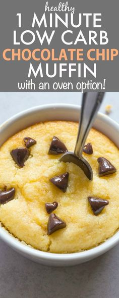 Healthy 1 Minute LOW CARB Chocolate Chip Muffin (mug cake)- Light, fluffy and moist in the inside! Single serving and packed full of protein and NO sugar whatsoever- Oven option too! {vegan, gluten free, paleo recipe}- thebigmansworld.com