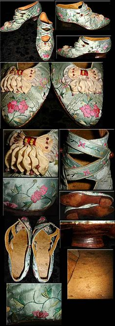 Victorian-Edwardian Silk Embroidered English Leather Fancy Shoes   c.1895-1914