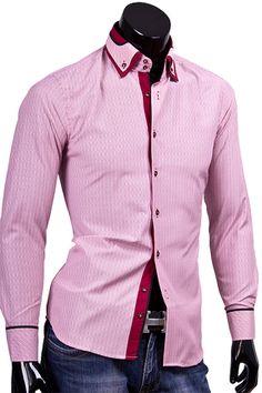 Купить Розовая приталенная рубашка с двойным воротником баттен-даун фото недорого в Москве
