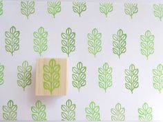 Leaf stamp Home decor stamp Pale green by JapaneseRubberStamps