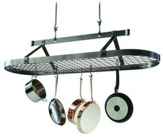 Enclume Premier 5-Foot Oval Ceiling Pot Rack, Hammered Steel