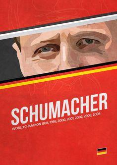 'Schumacher' poster from the Grand Prix Champions series. Michael Schumacher, First Art, F 1, Formula One, Grand Prix, Cool Cars, Race Cars, Champion, Old Things