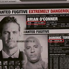 I know they're like 3 dates of births for Brian out there from TFATF, and whatnot but this is from Fast Five. This is the most recent one they used so Idgaf what anyone else says . Fast And Furious Cast, The Furious, Vin Diesel, Brian Oconner, Rip Paul Walker, Cody Walker, Nathalie Kelley, Dominic Toretto, Fast Five