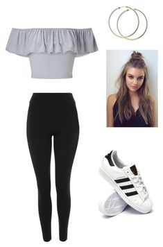 """Untitled #46"" by haileymagana on Polyvore featuring Miss Selfridge, Topshop and adidas"