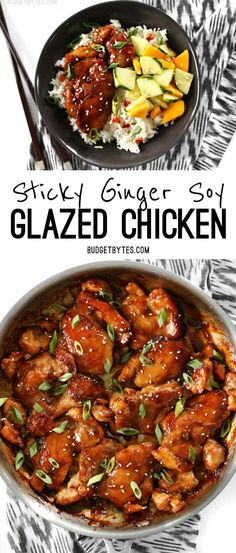 Sticky Ginger Soy Glazed Chicken features and simple marinade that turns into a sticky and delicious glaze. @budgetbytes